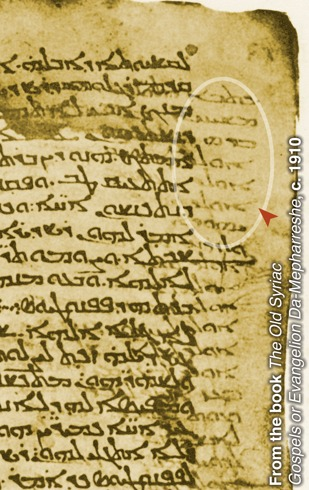 2014645_univ_cnt_4_sm_The palimpsest called the Sinaitic Syriac. Visible in the margin is the underwriting of the Gospels