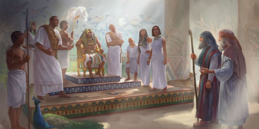 Moses and Aaron stand before Pharaoh