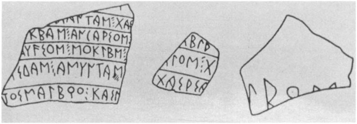 Inscribed sherds from Corinth, where Paul stayed 3 months and founded a church.